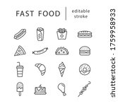 fast food   line icon set with... | Shutterstock .eps vector #1759958933