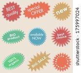 set of vintage flat labels | Shutterstock .eps vector #175997024