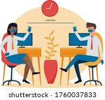 businessman and woman wear face ... | Shutterstock . vector #1760037833
