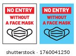 no entry without a face mask... | Shutterstock .eps vector #1760041250