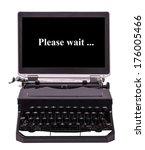 Small photo of Utopian old typewriter with a monitor.