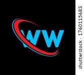 WW W W letter logo design. Initial letter WW linked circle uppercase monogram logo red and blue. WW logo, W W  design. ww