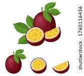 set of fresh whole  half  cut... | Shutterstock .eps vector #1760116436