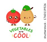 cute funny happy tomato and... | Shutterstock .eps vector #1760119526