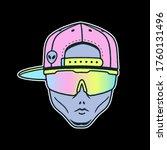 alien dude in the cap and sport ... | Shutterstock .eps vector #1760131496