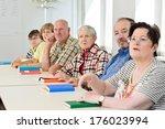 a group of elderly people... | Shutterstock . vector #176023994