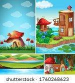 four different scene of fantasy ...   Shutterstock .eps vector #1760268623
