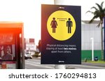 covid 19 warning sign on a pole ... | Shutterstock . vector #1760294813