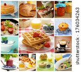 collage showing delicious... | Shutterstock . vector #176034263
