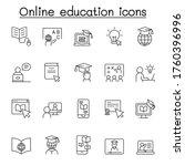 online education icon set in... | Shutterstock .eps vector #1760396996
