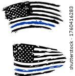 thin blue line us flag. flag... | Shutterstock .eps vector #1760416283