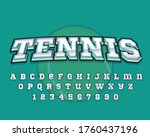 decorative tennis font and... | Shutterstock .eps vector #1760437196