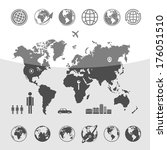 map of the world | Shutterstock .eps vector #176051510
