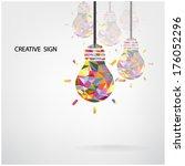 creative light bulb idea... | Shutterstock .eps vector #176052296