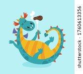 cute dragon character design.... | Shutterstock .eps vector #1760613356