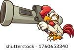 cartoon chicken holding a big... | Shutterstock .eps vector #1760653340