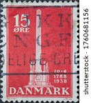 Small photo of DENMARK - CIRCA 1938: A postage stamp from Denmark showing a memorial column in Copenhagen on the occasion of the abolition of serfdom of the peasants