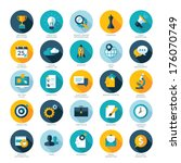 set of flat design icons for...