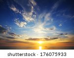 beautiful landscape with sunset ... | Shutterstock . vector #176075933