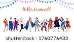 festive man and woman standing... | Shutterstock .eps vector #1760776433