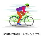cyclist on a bicycle rides fast   Shutterstock . vector #1760776796