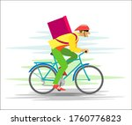 courier on a bicycle with a box ...   Shutterstock . vector #1760776823