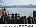 Old Ropes On Ferry Boat In...