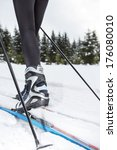 a woman cross country skiing in ... | Shutterstock . vector #176080010