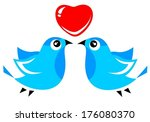 three blue birds and heart... | Shutterstock .eps vector #176080370