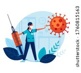 doctor with big syringe and...   Shutterstock .eps vector #1760815163