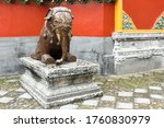 Bronze figure of an elephant in the Hengdian Film and Television City, in Zhejiang Province, China.