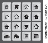 16 buttons with house icon.... | Shutterstock .eps vector #176085164