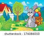 easter bunny theme image 7  ... | Shutterstock .eps vector #176086010