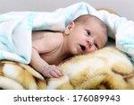 little newborn baby boy one...   Shutterstock . vector #176089943