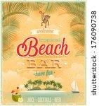 vintage beach bar poster.... | Shutterstock .eps vector #176090738