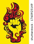 abstract fist raised up inside... | Shutterstock .eps vector #1760925149