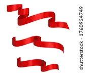 vector red ribbons. set of...   Shutterstock .eps vector #1760934749