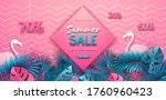 summer sale poster with pink... | Shutterstock .eps vector #1760960423