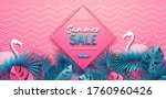 summer sale poster with pink... | Shutterstock .eps vector #1760960426