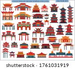Set Of Chinese Temples  Gates...