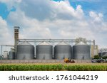 Agricultural Silo, foregro plantations. Set of storage tanks cultivated agricultural crops processing plant. Building Exterior, Storage and drying of grains, wheat, corn, soy, hay - stock photo