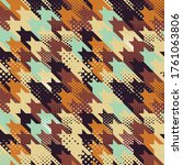 colored houndstooth with dots... | Shutterstock .eps vector #1761063806