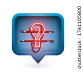 neon question mark in a 3d... | Shutterstock .eps vector #1761105800