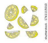 set of yellow lemon slices.   Shutterstock .eps vector #1761115010