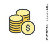 stack of coins color line icon. ...