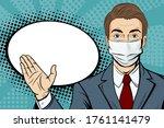 pop art male face in medical... | Shutterstock .eps vector #1761141479