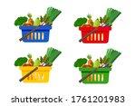 shopping basket full of... | Shutterstock .eps vector #1761201983