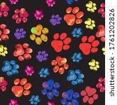 rainbow animal paw print trails ...   Shutterstock .eps vector #1761202826