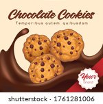 realistic chocolate cookies.... | Shutterstock .eps vector #1761281006