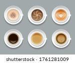 creative art coffee set. cream... | Shutterstock .eps vector #1761281009